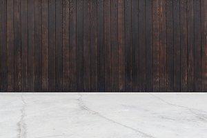 wood wall concrete floor