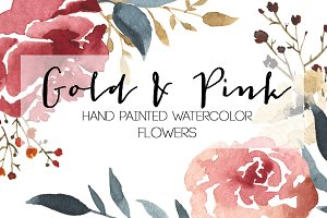 Watercolor Gold & Pink Flowers