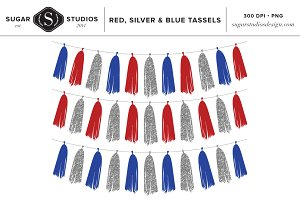 Red, Silver and Blue Tassels Clip Ar