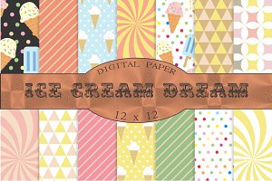 Ice cream patterns, digital paper