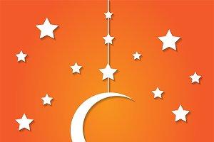 Stars and moon background orange