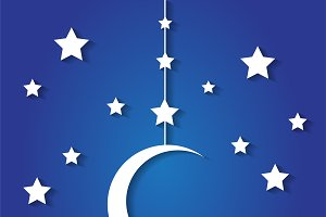Moon and stars background blue