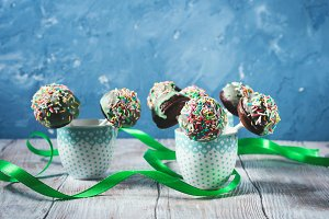 Colorful chocolate cake pops