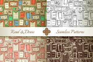 Read & Draw. Seamless Patterns