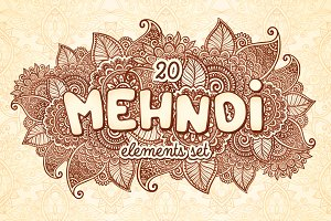 20 Indian mehndy style elements