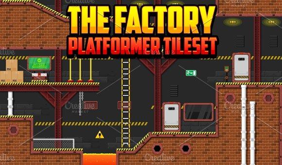 the factory platformer tileset illustrations creative market
