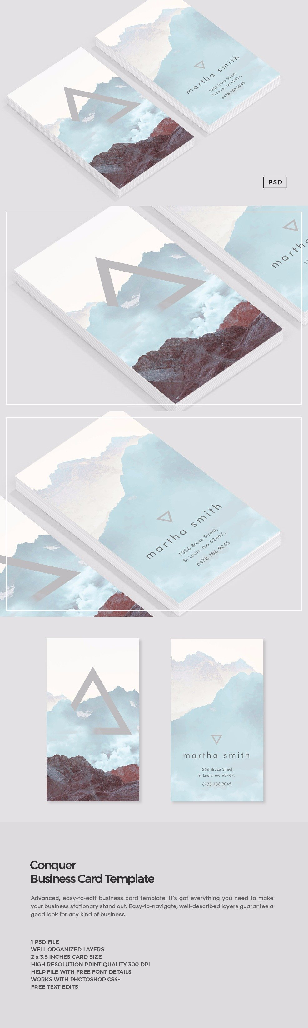Conquer Business Card Template ~ Business Card Templates ...
