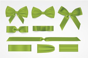 Vector green bows