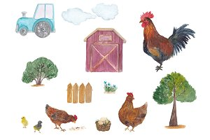 Watercolor chicken farm
