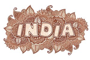 India sign in henna tattoo style