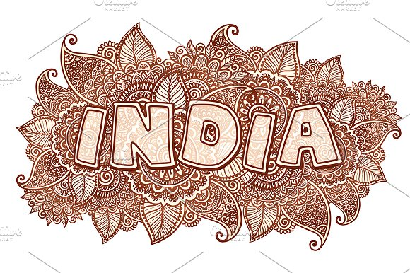 India Sign In Henna Tattoo Style Illustrations Creative Market