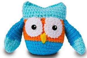 Knitted toy owl