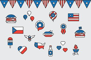Fourth of July 16 Vector Icons Set