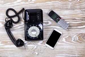 Retro and modern phones