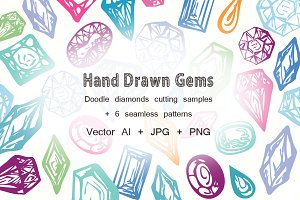 Gems Hand Drawn Vector Set