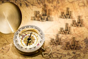 Vintage compass and treasure