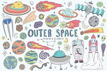Space Doodles Cute Clip Art Set