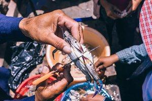 Cutting a Crab