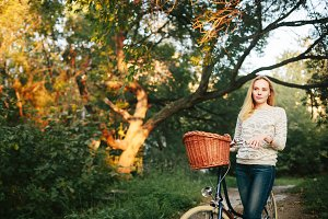 Tranquil woman on a Vintage Bicycle