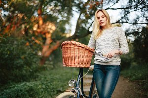 Female on a vintage bicycle
