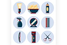 barbershop flat icon set