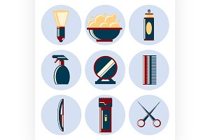 barbershop flat icon set