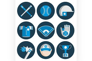 baseball flat icon set