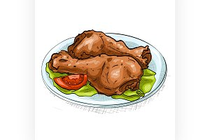 chicken legs color picture sticker