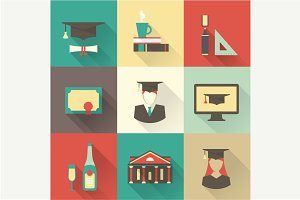 Vector graduation icons