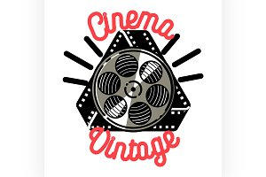Color vintage cinema emblem