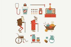 Vector granny icons