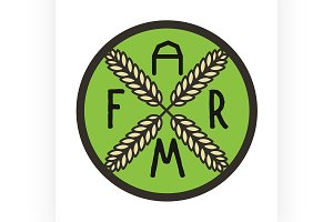 Color vintage farm emblem