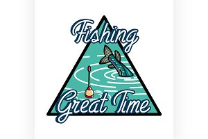 Color vintage fishing emblem