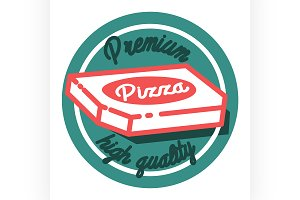 Color vintage pizza emblem