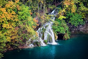 Autumn Forest Lake With Waterfall