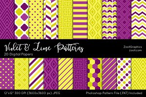 Violet And Lime Digital Papers
