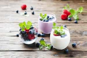 Healthy yogurt with berry and mint
