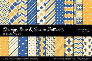 Orange, Blue & Cream Digital Papers