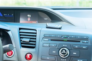 car dashboard with keys