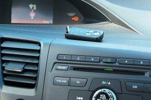 car dashboard with keys