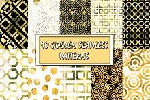 10 Watercolor Golden Patterns