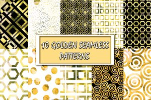 10 Watercolor Golden Patterns