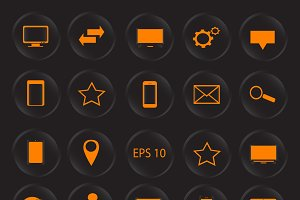 Icon set neon orange