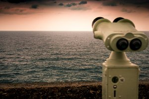 Binoculars, watching the horizon