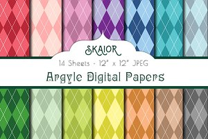 Rainbow Argyle Digital Papers