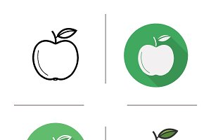Apple. 4 icons. Vector