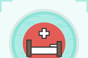 Clinic bed color icon. Vector