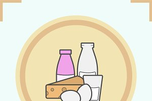 Dairy products color icon. Vector