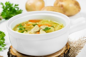 Soup with noodles and chicken