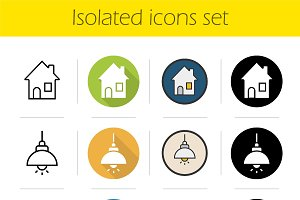 Household items. 12 icons. Vector